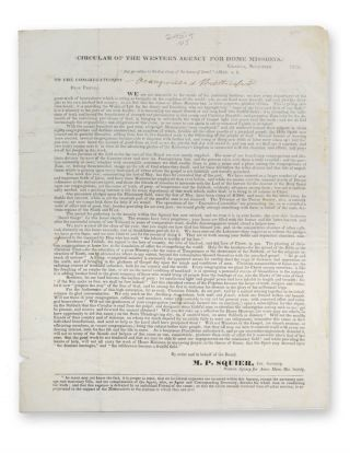 Stampless cover printed circular from the Western Agency of Home Missions, addressed to Rev....