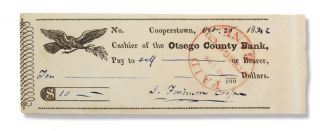 Printed check completed in Cooper's ink autograph for ten dollars cash, signed J. Fenimore...