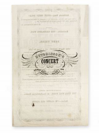 Cabot Hall, Friday Evening, Feb. 1, 1850. John W. Hutchinson will give a Vocal Entertainment at the Cabot Hall, Chicopee . . .
