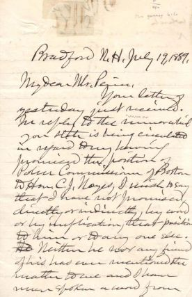 Autograph letter, signed J.Q.A. Brackett. Political Machines, John Quincy Adams Brackett